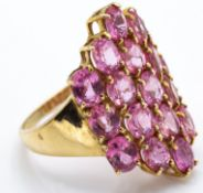A 9ct Gold Padparadacha Sapphire Cluster Ring
