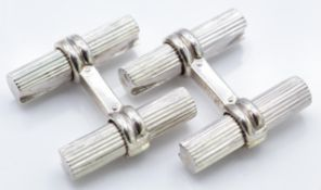 French 18ct White Gold Boucheron Baton Cufflinks