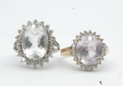 Two Hallmarked 9ct Gold Gem & Diamond Set Cluster Rings