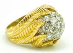 Van Cleef & Arpels 18ct Gold Platinum & Diamond Bombé Ring