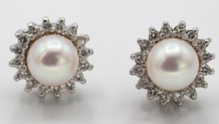 Pair of 9ct White Gold Cultured Pearl and Diamond Cluster Earrings