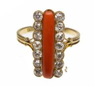 An Antique 18ct Gold Coral & Diamond Ring