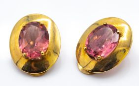A Pair of 9ct Gold & Pink Tourmaline Earrings