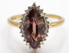 9ct Gold Pink zircon & Diamond Ring