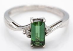 Hallmarked 18crt White Gold & Green Tourmaline & Diamond RIng