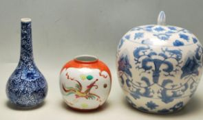 TWO 20TH CENTURY CHINES ORIENTAL CERAMIC GINGER JARS AND STEM VASE