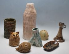 A COLLECTION OF VINTAGE RETRO STUDIO ART POTTERY - VASES - CANDLESTICK - PIN TRAY