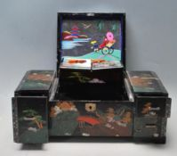 CHINESE ORIENTAL LACQUERED JEWELLERY BOX
