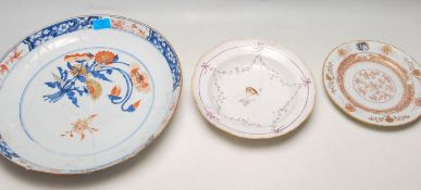THREE 18TH CENTURY ANTIQUE PORCELAIN PLATES