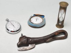 TWO 60 MINUTE STOPWATCHES - BRASS CLEPSYDRA - ANTIQUE CAN OPENER