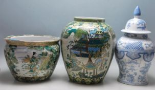 LARGE LATE 20TH CENTURY CHINESE REPUBLIC FISH BOWL / PLANTER TOGETHER WITH TWO OTHER VASES