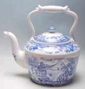 A LARGE LIMITED EDITION CERAMIC TEAPOT BY SPODE - BLUE AND WHITE WITH RURAL SCENE