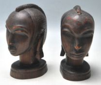 PAIR OF AFRICAN TRIBAL HARDWOOD BUSTS