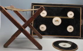 A COLLECTION OF FISHING RELATED ITEMS TO INCLUDE A SERVING TRAY - COASTER - FOLDING FISHING CHAIR