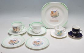 A SHELLEY PART TEA SET - CUPS - SAUCERS - CAKE PLATES - COALPORT CUP AND SAUCER
