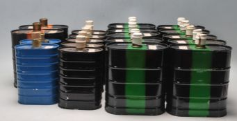 COLLECTION OF 19 VINTAGE RETRO INDUSTRIAL MILITARY CANISTERS FOR GAS MASKS