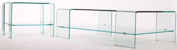 LARGE MOULDED THICK GLASS COFFEE TABLE AND MATCHING SIDE TABLE