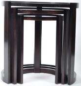 ART DECO STYLE SET OF DARK OAK NESTING TABLES OF ROUND FORM