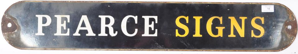 EARLY 20TH CENTURY PEARCE SIGNS ENAMEL PORCELAIN SHOP SIGN
