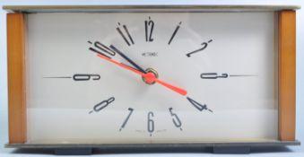 METAMEC ORIGINAL RETRO TEAK AND BRASS CASED MANTEL CLOCK