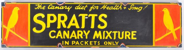 SPRATTS CANARY MIXTURE - IMPRESSION OF AN ENAMEL SIGN