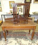 An Edwardian oak hall table, the rectangular top above an end drawer, on octagonal shaped legs,