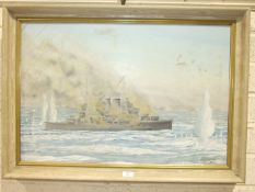 G Bodycomb, 'A warship under fire, with fleet in background', signed oil on canvas and dated '76, 49