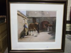 J Stoyle?, 'Shire horses in farmyard', a limited-edition coloured print, 30/500, 42 x 49.5cm and a