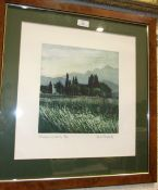 Robert R Greenhalf, 'View from the Down', a coloured etching, 18/50, 14.5 x 16cm, Mary Fenoughty '