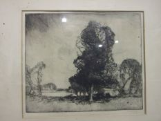 Sydney Long (Australian 1871-1955), 'Trees and cattle in a lakeland scene', a signed etching, 26.5 x
