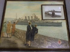 Alcorn H**** HMS Devonshire, Plymouth, 1946 indistinctly signed and titled, oil on board, 60 x 76cm,