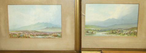 M Dowson, 'Moorland Scene', signed watercolour, 19 x 29cm and a companion, a pair, C M Rowe, a