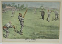 After Tom Merry, a political cartoon print, 'Clean Bowled', 33.5 x 48cm, a Spy political cartoon