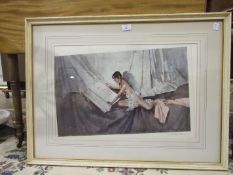 After Sir William Russell Flint, 'The New Model', a framed coloured print, signed in pencil within