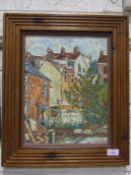 Roger Steppens (b.1956), 'Terrace Houses', oil on board, 36 x 26cm.