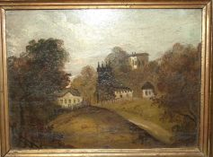 Barker?, 'Claverton Church' and 'Old Widcombe Church near Bath', a pair of naïve landscape portraits