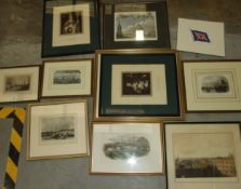 A collection of eight framed coloured book plate engravings of various locations, and others.