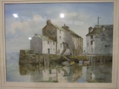 Jim Birt, 'Winter Sunshine at Polperro', signed watercolour, 34 x 47cm, titled label verso and other