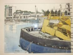 Richard Allman, 'Sutton Harbour from the China House (3)', signed and titled pen and wash dated
