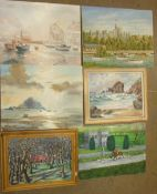 Alfred C Harwood, 'A Summers Day, Windsor', a signed oil on canvas, 40.5 x 51cm, unframed and a