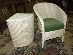 A painted Lloyd Loom bedroom armchair with original label and a Loom linen box, (3).