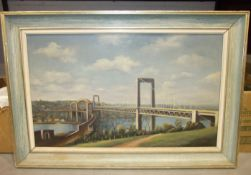 Collins, 'View of the Royal Albert Bridge and Tamar Bridge', signed oil on board, 44 x 74cm.