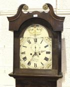 A Georgian mahogany and oak long case clock, with arch painted dial and 8-day bell-striking