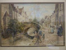 E Pratt, '19th century Continental street scene with figures', a signed watercolour, 38 x 59cm, (