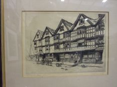 After C B Prescott, '16th Century Houses, Bristol', a framed etching, signed and titled with