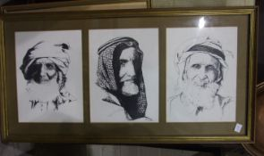 After Vern Dethmers, 'Study of three Arabic male portraits', framed as one, each 21 x 30cm, a framed