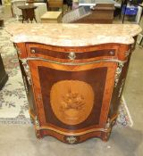 A reproduction marquetry and gilt metal-mounted Continental serpentine side cabinet with polished