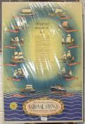 A National Savings Poster, 'Shipping Through The Ages', printed for HM Stationery Office, 77 x