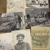 Ralph J Griffin (Griff), a collection of unframed pencil and watercolour sketches of scenes in