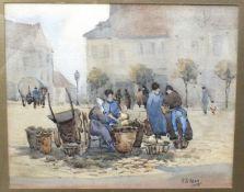 E P Allen, 'Figures in a market square', signed watercolour, 25.5 x 31.5cm, W A D King, 'Landscape